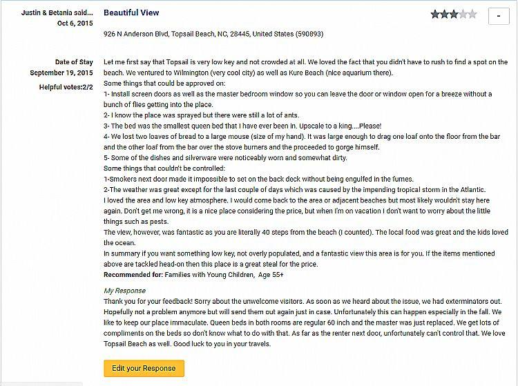 Reviews from VRBO